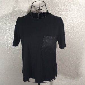 Forever 21 Faux Vegan Leather Pocket Tee Shirt